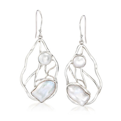 8-9x15mm Cultured Pearl Open-Space Drop Earrings in Sterling Silver