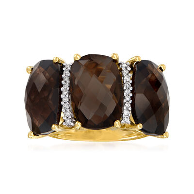 10.00 ct. t.w. Smoky Quartz Three-Stone Ring with .10 ct. t.w. Diamonds in 14kt Yellow Gold