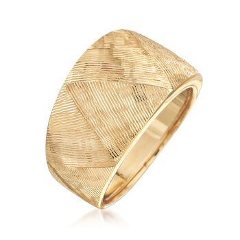 Italian 18kt Yellow Gold Textured Ring, , default
