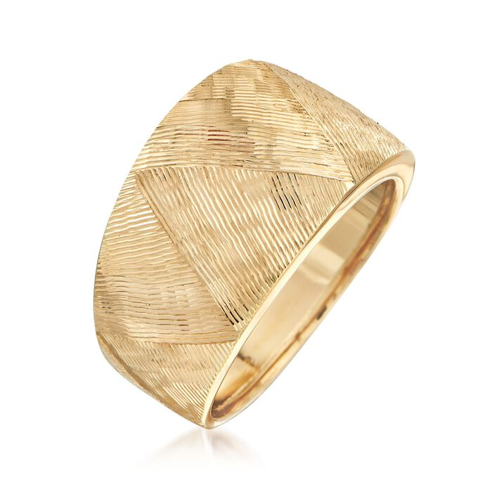 Italian 18kt Yellow Gold Textured Ring
