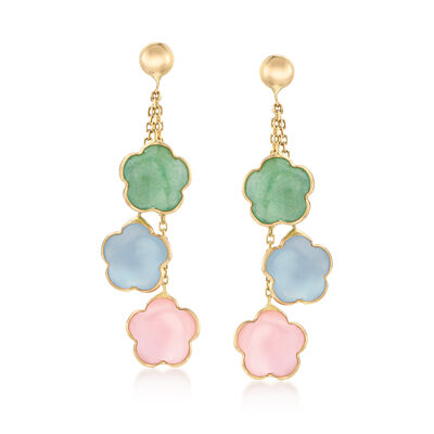 Italian Multi-Gemstone Drop Earrings in 14kt Yellow Gold, , default