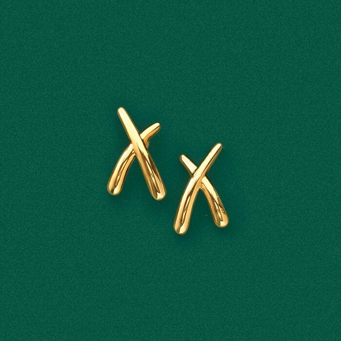"""14kt Yellow Gold """"X"""" Earrings"""