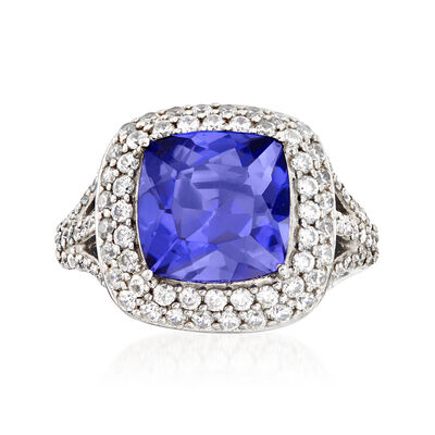 5.50 Carat Simulated Tanzanite and 1.15 ct. t.w. CZ Ring in Sterling Silver
