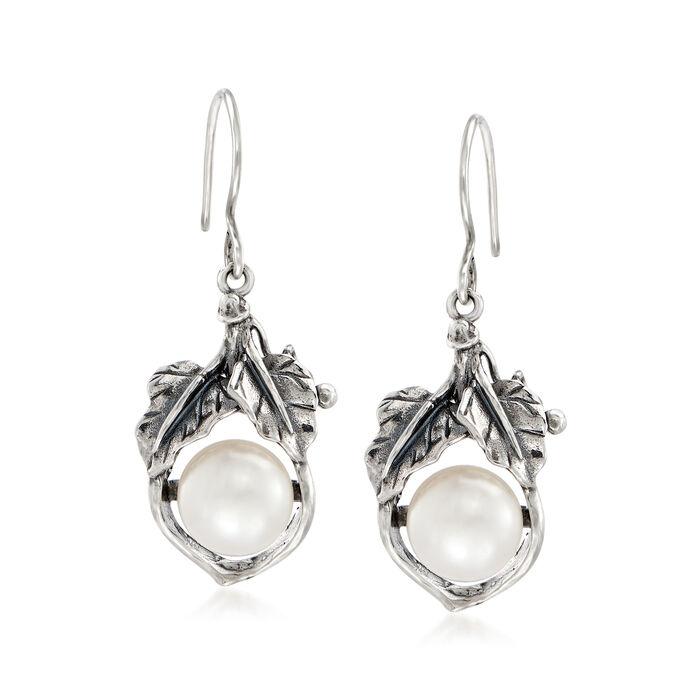 10-10.5mm Cultured Pearl Leaf Drop Earrings in Sterling Silver