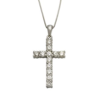 1.00 ct. t.w. Diamond Cross Necklace in 14kt White Gold, , default