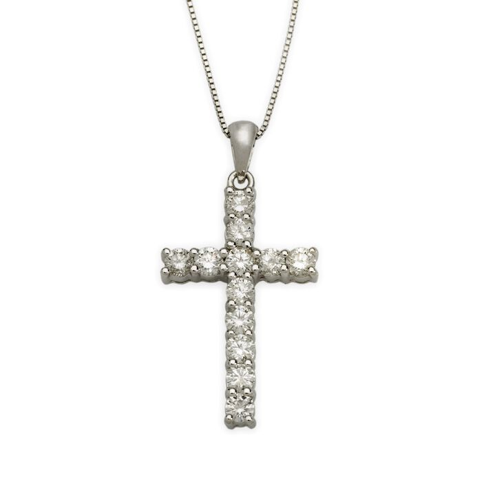 "1.00 ct. t.w. Diamond Cross Necklace in 14kt White Gold. 18"", , default"