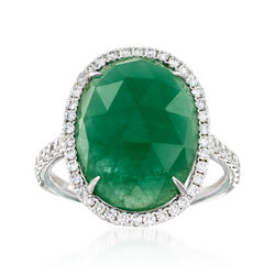 7.75 Carat Emerald and .58 ct. t.w. Diamond Ring in 18kt White Gold, , default