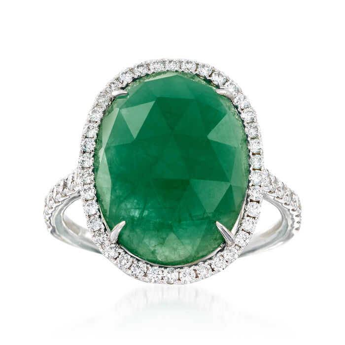 7.75 Carat Emerald and .58 ct. t.w. Diamond Ring in 18kt White Gold. Size 5, , default