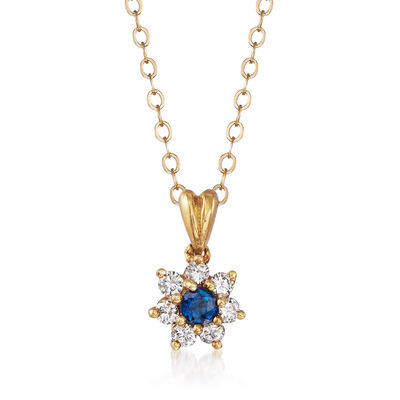 C. 1980 Vintage .25 ct. t.w. Diamond and .15 Carat Sapphire Flower Pendant Necklace in 18kt & 14kt Yellow Gold, , default