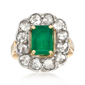 C. 1980 Vintage 2.00 Carat Emerald and 1.60 ct. t.w. Diamond Ring in 18kt Two-Tone Gold. Size 5.75, , default