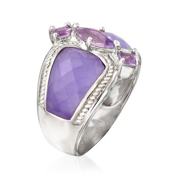 Lavender Jade and .70 ct. t.w. Amethyst Ring in Sterling Silver, , default
