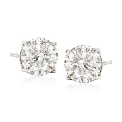 2.00 ct. t.w. CZ Stud Earrings in 14kt White Gold