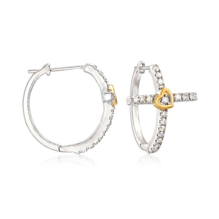 .31 ct. t.w. Diamond Cross Hoop Earrings in 14kt Two-Tone Gold