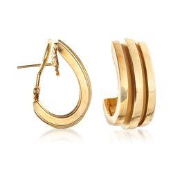 C. 1990 Vintage Tiffany Jewelry 18kt Yellow Gold J-Hoop Earrings , , default