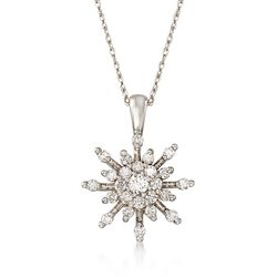 .50 ct. t.w. Diamond Starburst Pendant Necklace in 14kt White Gold, , default