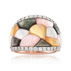 Multicolored Mother-Of-Pearl and .75 ct. t.w. Diamond Mosaic Ring in 14kt Rose Gold, , default