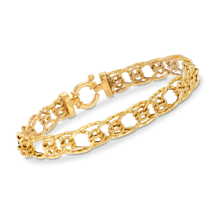 Italian 14kt Yellow Gold Interlocking Oval-Link Bracelet, , default