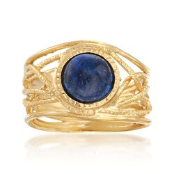 Lapis Textured Openwork Ring in 18kt Gold Over Sterling, , default