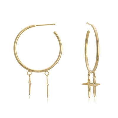 14kt Yellow Gold Hoop Earrings with Dangling Crosses and Diamond Accent, , default