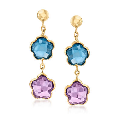 1.70 ct. t.w. London Blue Topaz and 1.50 ct. t.w. Amethyst Flower Drop Earrings in 14kt Yellow Gold