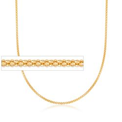 "Italian 1.5mm 18kt Yellow Gold Over Sterling Silver Adjustable Slider Popcorn Chain. 24"", , default"
