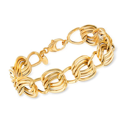 Italian 14kt Yellow Gold Link Bracelet, , default