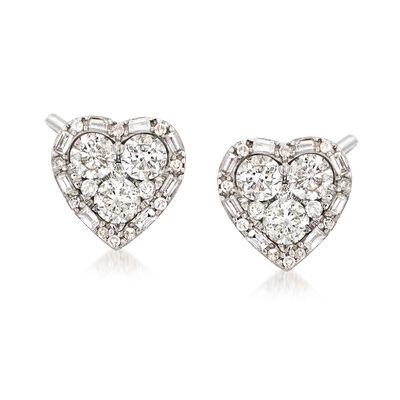1.20 ct. t.w. Diamond Heart Earrings in 14kt White , , default