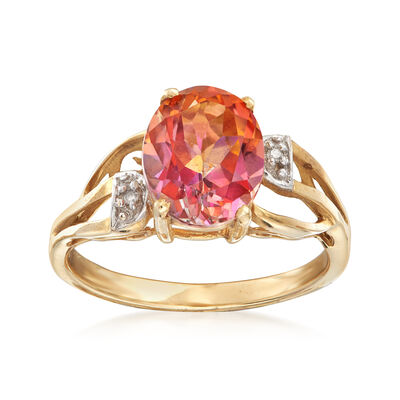 C. 1990 Vintage 3.40 Carat Pink Topaz Ring With Diamond Accents in 10kt Yellow Gold, , default