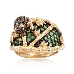 .50 ct. t.w. Green Tsavorite and .30 ct. t.w. Brown Diamond Frog Ring in 14kt Yellow Gold, , default