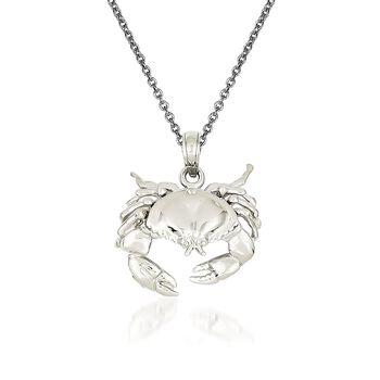 """14kt White Gold Crab Pendant Necklace. 18"""", , default"""