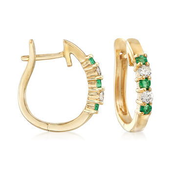 ".20 ct. t.w. Emerald and .10 ct. t.w. Diamond Hoop Earrings in 14kt Yellow Gold. 1/2"", , default"