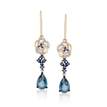 3.40 ct. t.w. London Blue Topaz and .30 ct. t.w. Sapphire Floral Earrings With Diamonds in 14kt Yellow Gold, , default