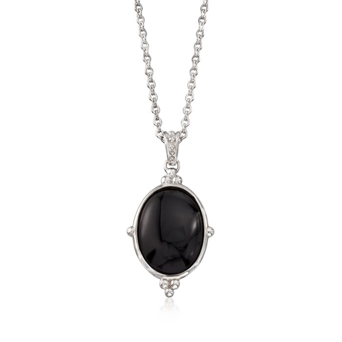 Oval Black Onyx Pendant Necklace in Sterling Silver