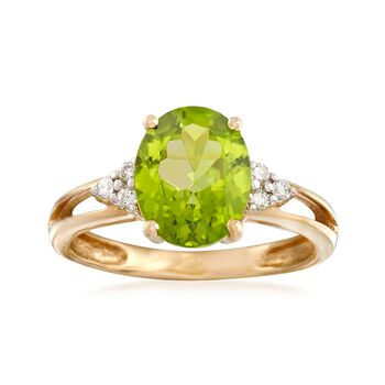 2.50 Carat Peridot and .10 ct. t.w. Diamond Ring in 14kt Yellow Gold, , default