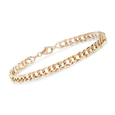 14kt Yellow Gold Oval Curb-Link Bracelet, , default