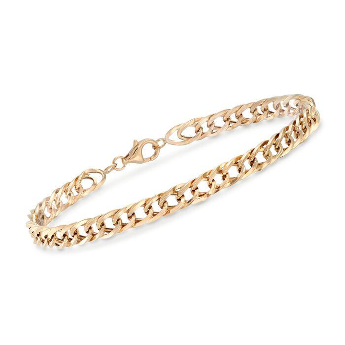 "14kt Yellow Gold Oval Curb-Link Bracelet. 8"", , default"