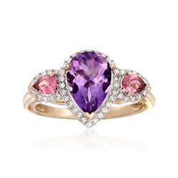 1.70 Carat Amethyst and .20 ct. t.w. Pink Tourmaline Ring With Diamonds in 14kt Yellow Gold, , default