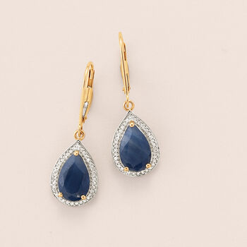 """5.00 ct. t.w. Sapphire and .21 ct. t.w. Diamond Drop Earrings in 14kt Yellow Gold. 1 1/4"""", , default"""