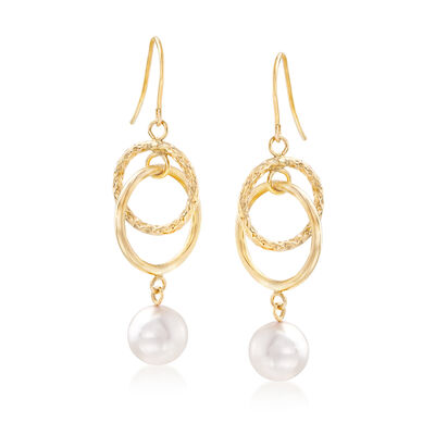 Cultured Pearl and Interlocking Drop Earrings in 14kt Yellow Gold, , default