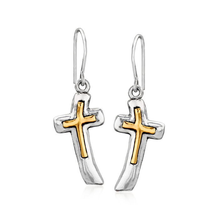 Sterling Silver Cross Drop Earrings with 14kt Yellow Gold