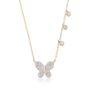 """.14 ct. t.w. Diamond Butterfly and Asymmetrical Bezel Necklace in 14kt Yellow Gold. 18"""", , default"""