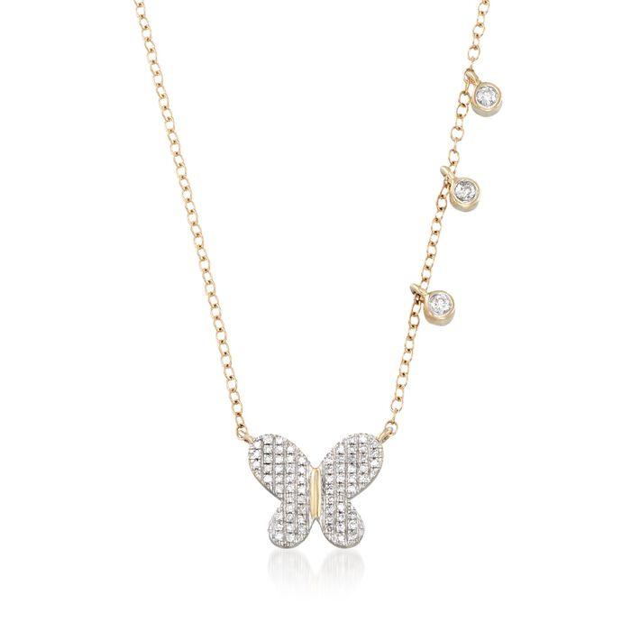 ".14 ct. t.w. Diamond Butterfly and Asymmetrical Bezel Necklace in 14kt Yellow Gold. 18"", , default"