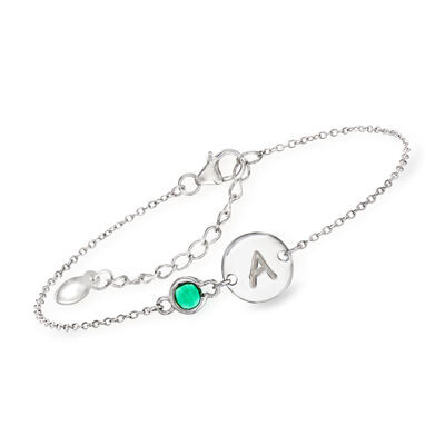 Simulated Birthstone and Single Initial Circle Disc Bracelet in Sterling Silver