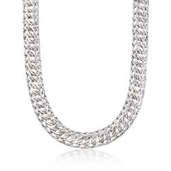 Sterling Silver Triple Oval Link Necklace, , default