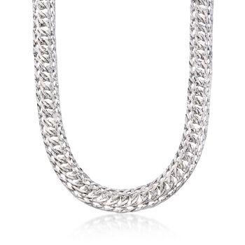 Sterling Silver Triple Oval Link Necklace, , default