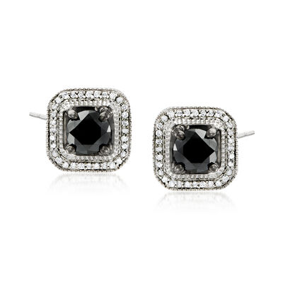 3.00 ct. t.w. Black and White Diamond Stud Earrings in Sterling Silver, , default