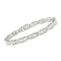 3.00 ct. t.w. Baguette Diamond Bracelet in 14kt White Gold, , default