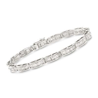 3.00 ct. t.w. Diamond Baguette Bracelet in 14kt White Gold, , default