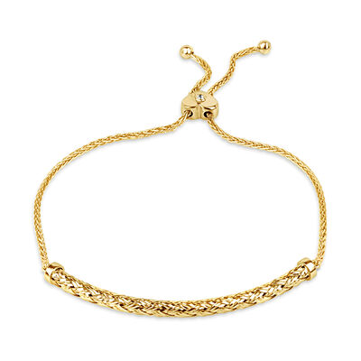18kt Gold Over Sterling Curved Bar Bolo Bracelet