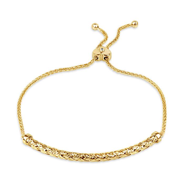 18kt Gold Over Sterling Curved Bar Bolo Bracelet